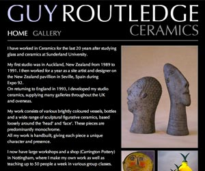 guy routledge ceramics nottingham website design
